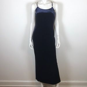 Vintage blue velvet strappy skde skit maxi dress